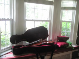unplayed (and unclosed) cello in the family room window seat