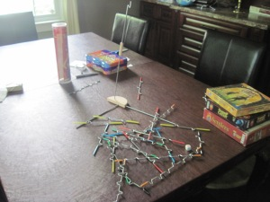 games left out on the dining room table