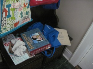 books and crap left in the front hall