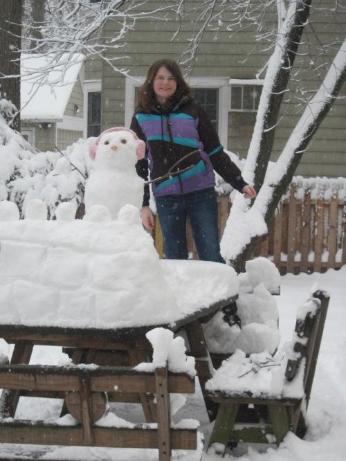Dori made a snowman