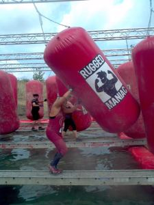 The boxing bags. Photo courtesy of Rugged Maniac.