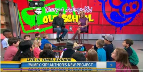 Zack and 19 other kids on Good Morning America with Jeff Kinney.