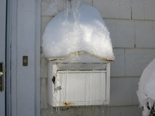 Our mailbox froze in the open position because the mail deliverer (as usual) left the items sticking out of the box.